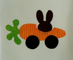 Bunny Rabbit in a Carrot Car Iron On Applique by MontanaTwirls, $6.00