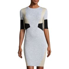 Belstaff Hart Half-Sleeve Bodycon Colorblock Dress ($403) ❤ liked on Polyvore featuring dresses, pale stone, half sleeve bodycon dress, block print dresses, figure hugging dress, straight dress and belstaff