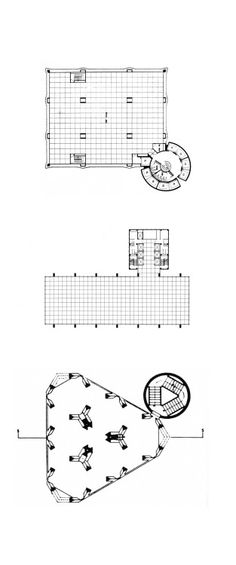 archiveofaffinities:  PERIPHERAL CORE PLANSFrom Top to Bottom:Arup Associates, IBM Headquarters, Typical Floor Plan, Johannesburg, South Africa, 1976Bruce Graham / SOM, Inland Steel Building, Corporate Headquarters, Chicago, Illinois, 1958Louis I. Kahn, Design for an Office Tower, Plan, Philadelphia, Pennsylvania, 1952-1957