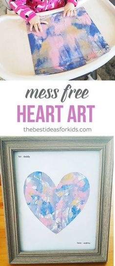 This Mess Free Painting for Toddlers Art Activity is the perfect gift for Mother's Day, Father's Day, Valentine's Day or even a Birthday gift from baby to mom or dad! via baby crafts Mess Free Painting with Babies or Toddlers Baby Crafts, Toddler Crafts, Crafts For Kids, Kids Diy, Family Crafts, Birthday Crafts, Mom Birthday Gift, Birthday Ideas For Wife, Birthday Presents For Dad