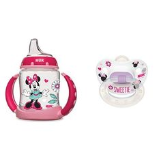 NUK Disney Minnie Mouse 5Ounce Learner Cup with Silicone Spout with Disney Baby Minnie Mouse Puller Pacifier in Assorted Colors and Styles -- To view further for this item, visit the image link.-It is an affiliate link to Amazon.