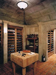 Butcher block island in wine cellar! Wine Cellar Basement, Wine Cellar Racks, Wine Glass Rack, Wine Rack, Caves, Home Wine Cellars, Wine Cellar Design, Wine Cabinets, In Vino Veritas