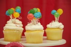 Cute Balloon cupcakes at a Sweet Shoppe Party.  See more party ideas at CatchMyParty.com. #sweetshoppepartyideas