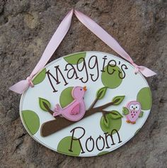 Custom Personalized Name or Word Oval, square or rectangle Sign for children, home, desk, shelf, decor. $29.95, via Etsy.
