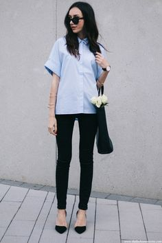 striped shirt fashion blogger, ripped knee jeans, white roses street style