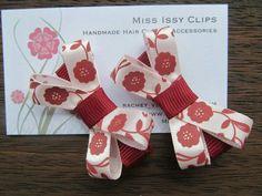 Brown Floral hair clips