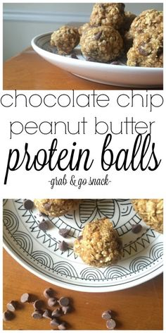 Chocolate Chip Peanut Butter Protein Balls Recipe Chocolate Chip Peanut Butter Protein Balls: I love having healthy snack options on hand when on the go. Check out our Chocolate Chip Peanut Butter Protein Balls Recipes for one of my go-to healthy snacks t Healthy Protein Snacks, Healthy Snack Options, Quick Snacks, Healthy Cookies, Snack Recipes, Healthy Recipes, Diet Recipes, Alkaline Recipes, Healthy Sweets