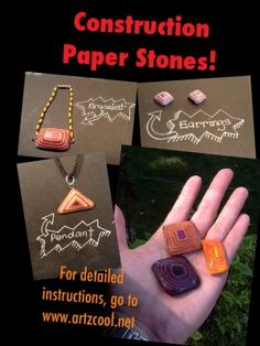 "Construction paper ""stones"" ... I remember making these when I was a Brownie scout ... we paper-punched holes in a corner and made them into key chains. Fun stuff!!"