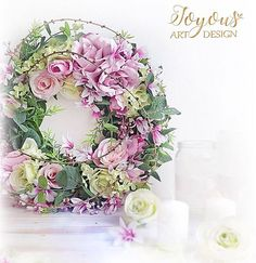 Nove dekorace na fler.Have a nice day💕 Vintage Wreath, Wreaths And Garlands, Prague Czech, Love Flowers, Spring Wedding, Den, Floral Wreath, Romance, Decoration