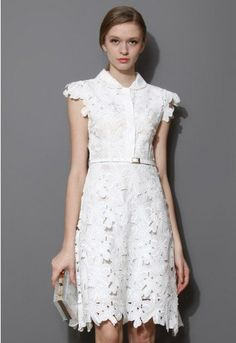 This belted white shift dress is a awesome choice to team with your heels. Cut to above knee length, all flower cut out construction with a slim belt accenting the silhouette. - Concealed snap fastening on upper front- Concealed side zip closure- Lined, with belt- Shell:100% Cotton Line:100% Polyester- Hand wash Size (cm) Length Bust WaistS 99 88 66 fits for US0/2 UK6/8 EU34/36M 100 92 70 fits for US4/6 UK10 EU38L...
