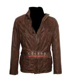 Da vinci Demons Distress Brown Real Leather Jacket 100/% money Back guarantee!!!