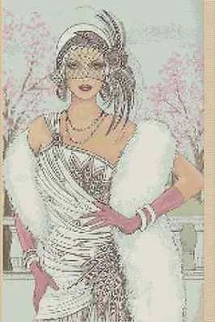 Cross Stitch Chart ART DECO LADY IN WHITE AND PINK DRESS No.6vb-45