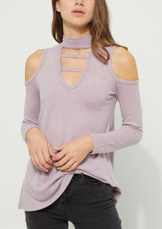 50e2c7c303c770 Dark Purple Caged Cold Shoulder Hacci Knit Top