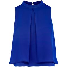 CASTER TOP (€55) ❤ liked on Polyvore featuring tops, shirts, layered tops, shirt crop top, blue shirt, high neckline crop top and cropped shirts