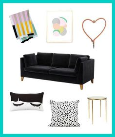 Style a black couch for a preppy space with these decor items.