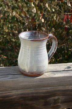 Pottery Mug with Handle Cream Glaze NC Pottery.