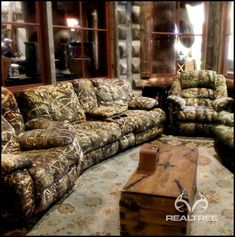 Realtree Camo Couch - it's perfect for mancave.   #realtreecamo #camocouch