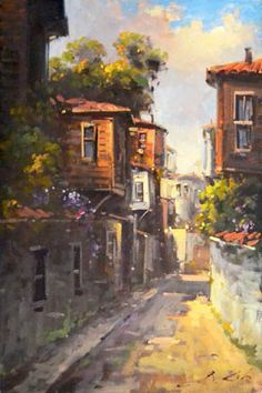Oil Painting Pictures, Art Pictures, Illustrations, Illustration Art, Sans Art, Istanbul, Country Landscaping, Landscape Art, Beautiful Landscapes