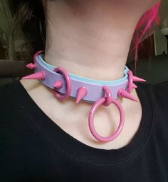 Handmade Purple and Baby Blue Genuine Leather choker with Pink powder coated hardware. The O-Ring is 1.5 inches. The leather is 1 inch at widest point.  Fits 12-17 inch necks.  This is a ready to ship collar. Please allow me 3-5 days to ship it out.  If you have any questions please contact me!  Follow my Instagram @tumorcrunch for new items, shop updates, discounts, and giveaways