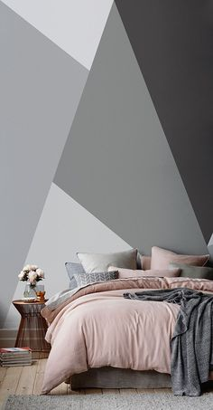 Dazzle your houseguests with these show-stopping geometrics! This geometric wallpaper mural is brimming full of style and sophistication. Perfect for contemporary living spaces! Bedroom Wallpaper Contemporary, Interior Wallpaper, Home Wallpaper, Contemporary Interior Design, Geometric Wallpaper, Wallpaper Ideas, Grey Wallpaper, Bedroom With Wallpaper Design, Wallpaper Murals