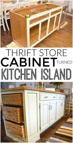 we made a new kitchen island with inexpensive thrifted cabinets.