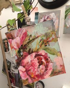 """Kim Black on Instagram: """"Just a little peony hanging in the studio ! Part of my paintings on paper series . Have the best Wednesday everyone x #peonypaintings…"""" Peony Painting, Just A Little, Peonies, Wednesday, Decoupage, Roses, Paintings, Studio, Paper"""