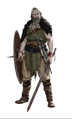 m Barbarian Shield Sword Daggers Kimya Sheikh lg Fantasy Warrior, Fantasy Rpg, Medieval Fantasy, Dark Fantasy, Dungeons And Dragons Characters, Dnd Characters, Fantasy Characters, Fantasy Character Design, Character Art