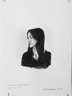Small Portrait of Fei Fei Sun. 9x12 ink on Bristol paper.    I have made portrait drawings and painting of Fei Fei before and I will make a few more shortly.  What makes her such an intriguing person is how little she actually does for the camera.  I think of her posing (at least when I was photographing her) as difference between acting for film, in which subtle moves convey so much more, and acting for the stage in which actors must project large expressions and emotion to reach audience.