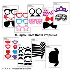 This DIY photo booth props set includes:  • 8 Glasses • 3 Bow ties • 1 Crown • 1 Mask • 8 Lips • 11 Moustache • 2 Hats  Instructions included.  #wedding #weddingideas #celebration #party
