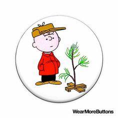 Charlie Brown Christmas Tree Pin Button Badge Fridge Magnet (Peanuts)