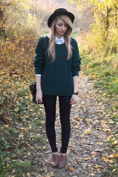 3a02f4d2c5800 This would be a perfect outfit to wear on a chilly autumn morning. I think  the bowler hat really adds to the outfit and I love the green jumper.