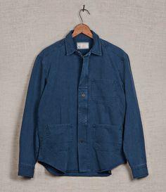 Utility Zip Shirt/Blue Herringbone (hidden zipper)