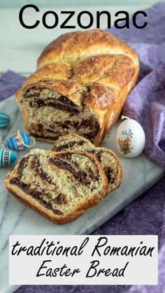 Cozonac - Romanian Easter Bread from Binky's Culinary Carnival is a delicious recipe traditionally served at Easter. Perfect for breakfast, brunch, or dessert, this tasty sweet bread is filled with cocoa powder, nuts, raisins, powdered sugar, and rum extract. Try something new and bake this fun recipe for Easter this year! #easterrecipes #breakfastrecipes Easter Bread Recipe, Easter Recipes, Holiday Recipes, Holiday Foods, Scottish Recipes, Turkish Recipes, Romanian Food, Romanian Recipes, Sweet Bread