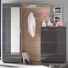 Garderobenmöbel Set Aldama (4-teilig) - Anthrazit Hochglanz/Eiche Sonoma Dekor - Dielenschrank, Paneel, Regal & Schuhschrank
