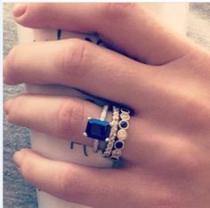 Sapphire engagement ring set ♥ #Capri #Jewelers #Arizona ~ www.caprijewelersaz.com ♥