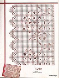 Filet crochet edging with grape vines Crochet Lace Edging, Crochet Motifs, Crochet Borders, Thread Crochet, Crochet Doilies, Crochet Stitches, Crochet Patterns, Crochet Curtain Pattern, Crochet Curtains