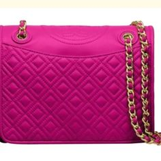 Authentic Tory Burch Fleming Authentic Tory Burch Fleming medium sized perfect size and beautiful fuchsia color only flaw is bottom edges as seen in picture not notable Tory Burch Bags Crossbody Bags