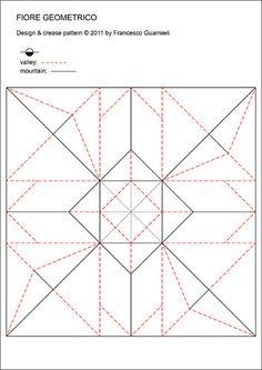 Origami: Fiore geometrico - Geometric Flower (Crease Pattern). Designed by Francesco Guarnieri, April 2011.