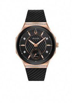 be5488877 Bulova Women's Women's Rose Gold-Tone Curv Watch - Black - One Size  #bestwatchesforwomen
