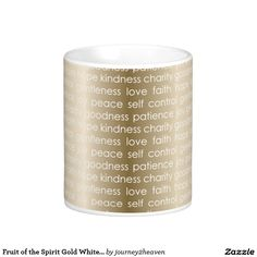Fruit of the Spirit Gold White Love Peace Joy Basic White Mug Gift From Heaven, Fruit Of The Spirit, Coffee Travel, Patience, Peace And Love, Shot Glass, Tea Cups, Joy, Mugs