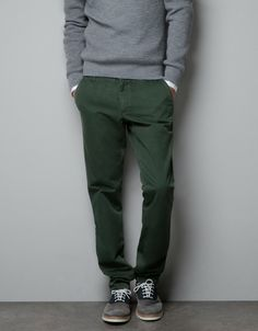 Zara Green Chinos with Ribbon Detail