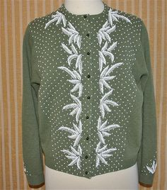 ba5f9c34711 Vintage beaded sweater olive green by longagoandfaraway on Etsy
