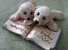 Polymer Clay  Two Little Seals Reading A by trinasclaycreations, $35.00