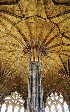 Gothic architecture - partially restored ceiling - The interior of Elgin Cathedral which dates to the 1200s.