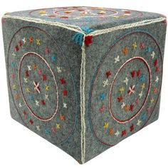 """Fun seating for a chid? This cube is about 18"""" cubed. What lovely thread colors on top of this grey!"""