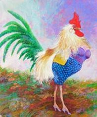 Dragster by Jeff MacNelly (Key West Artist)  He was a cartoonist and couldn't help making fun of everyone in sight. This rooster in drag makes fun of the descendants of the Cuban fighting cocks as well as a number of residents. Key West, remember?