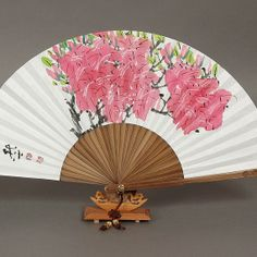 Royal azalea Flower Oriental Painting Korean Sumie real Painting paper fan bamboo paper