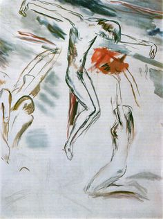 """A painting by Wilhelm Lehmbruck """"Crusifixion"""", 1918 Rodin, Helsinki, Art Images, Collage, Artists, Watercolor, History, Drawings, Creative"""
