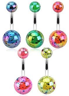 14G White Dial Gem Sparkle Acrylic Balls Acrylic Inspiration Dezigns Navel Ring