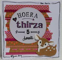 Gemaakt door Joke # kinderkaart Thirza 5 jaar